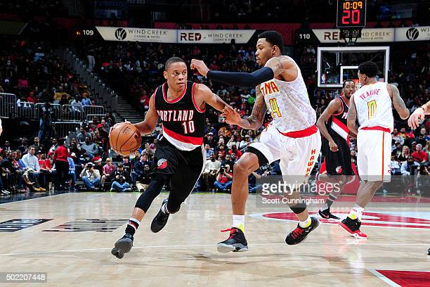 Tim Frazier of the Portland Trail Blazers drives to the basket during the game against the Atlanta Hawks on December 21 2015 at Philips Arena in...