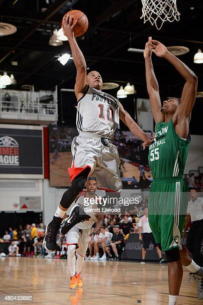 Tim Frazier of the Portland Trail Blazers drives to the basket against the Boston Celtics on July 11 2015 at the Cox Pavilion in Las Vegas Nevada...