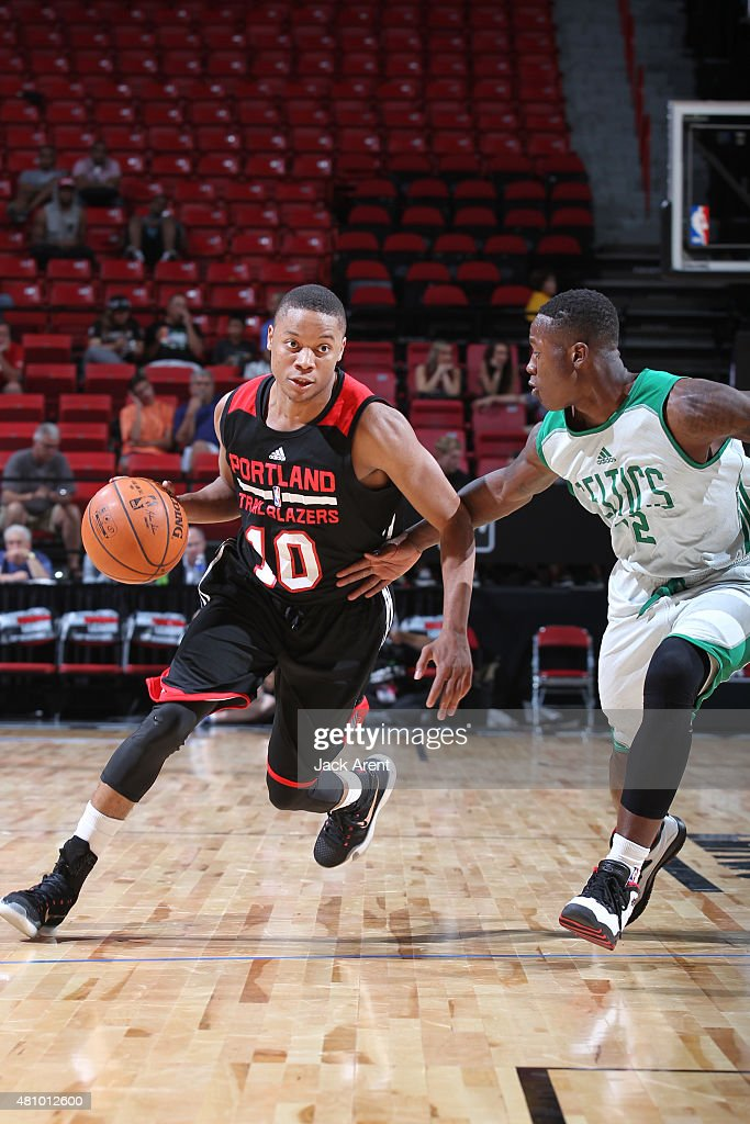 <a gi-track='captionPersonalityLinkClicked' href=/galleries/search?phrase=Tim+Frazier&family=editorial&specificpeople=6526834 ng-click='$event.stopPropagation()'>Tim Frazier</a> #10 of the Portland Trail Blazers drives to the basket against the Boston Celtics during the game on July 16, 2015 at Thomas And Mack Center, Las Vegas, Nevada.