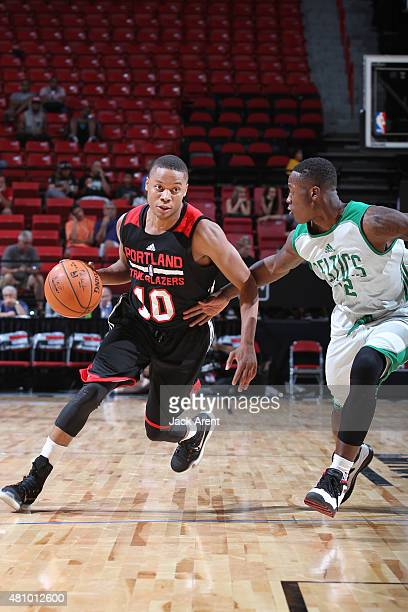 Tim Frazier of the Portland Trail Blazers drives to the basket against the Boston Celtics during the game on July 16 2015 at Thomas And Mack Center...