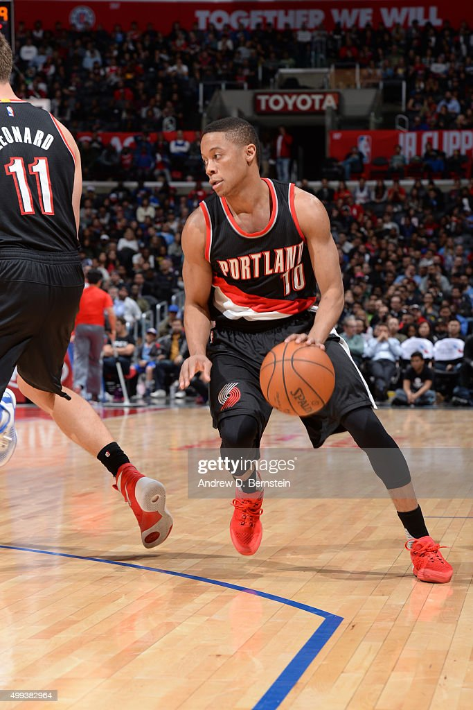 <a gi-track='captionPersonalityLinkClicked' href=/galleries/search?phrase=Tim+Frazier&family=editorial&specificpeople=6526834 ng-click='$event.stopPropagation()'>Tim Frazier</a> #10 of the Portland Trail Blazers drives to the basket against the Los Angeles Clippers on November 30, 2015 at STAPLES Center in Los Angeles, California.