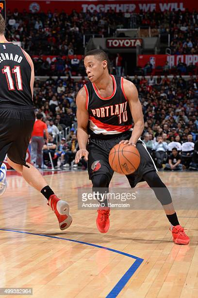 Tim Frazier of the Portland Trail Blazers drives to the basket against the Los Angeles Clippers on November 30 2015 at STAPLES Center in Los Angeles...