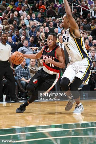 Tim Frazier of the Portland Trail Blazers drives to the basket against the Utah Jazz on December 31 2015 at vivintSmartHome Arena in Salt Lake City...