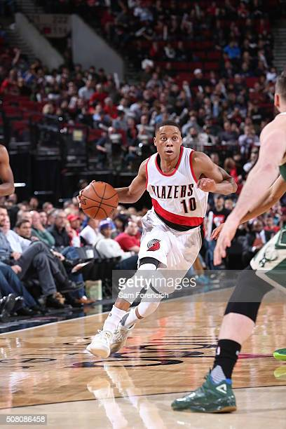 Tim Frazier of the Portland Trail Blazers drives to the basket against the Milwaukee Bucks during the game on February 2 2016 at Moda Center in...