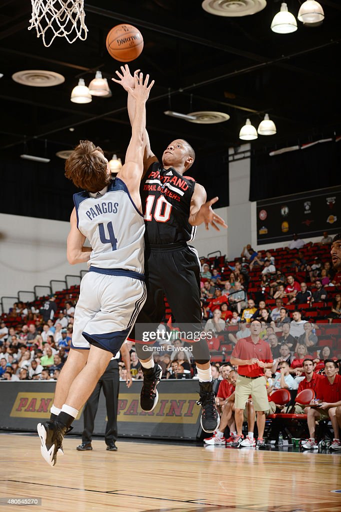 <a gi-track='captionPersonalityLinkClicked' href=/galleries/search?phrase=Tim+Frazier&family=editorial&specificpeople=6526834 ng-click='$event.stopPropagation()'>Tim Frazier</a> #10 of the Portland Trail Blazers goes up for a shot against the Dallas Mavericks on July 12, 2015 at the Cox Pavilion in Las Vegas, Nevada.