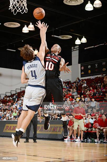 Tim Frazier of the Portland Trail Blazers goes up for a shot against the Dallas Mavericks on July 12 2015 at the Cox Pavilion in Las Vegas Nevada...