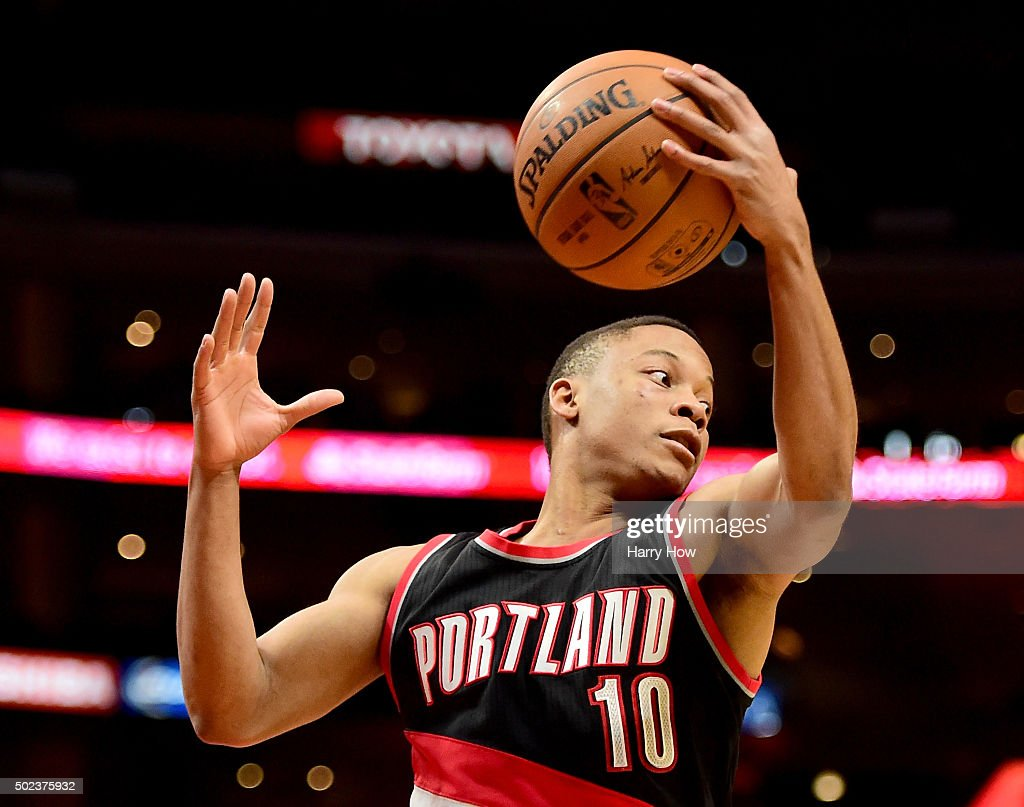 <a gi-track='captionPersonalityLinkClicked' href=/galleries/search?phrase=Tim+Frazier&family=editorial&specificpeople=6526834 ng-click='$event.stopPropagation()'>Tim Frazier</a> #10 of the Portland Trail Blazers grabs a rebound against the Los Angeles Clippers at Staples Center on November 30, 2015 in Los Angeles, California.