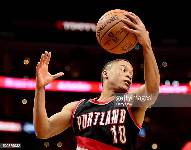 Tim Frazier of the Portland Trail Blazers grabs a rebound against the Los Angeles Clippers at Staples Center on November 30 2015 in Los Angeles...
