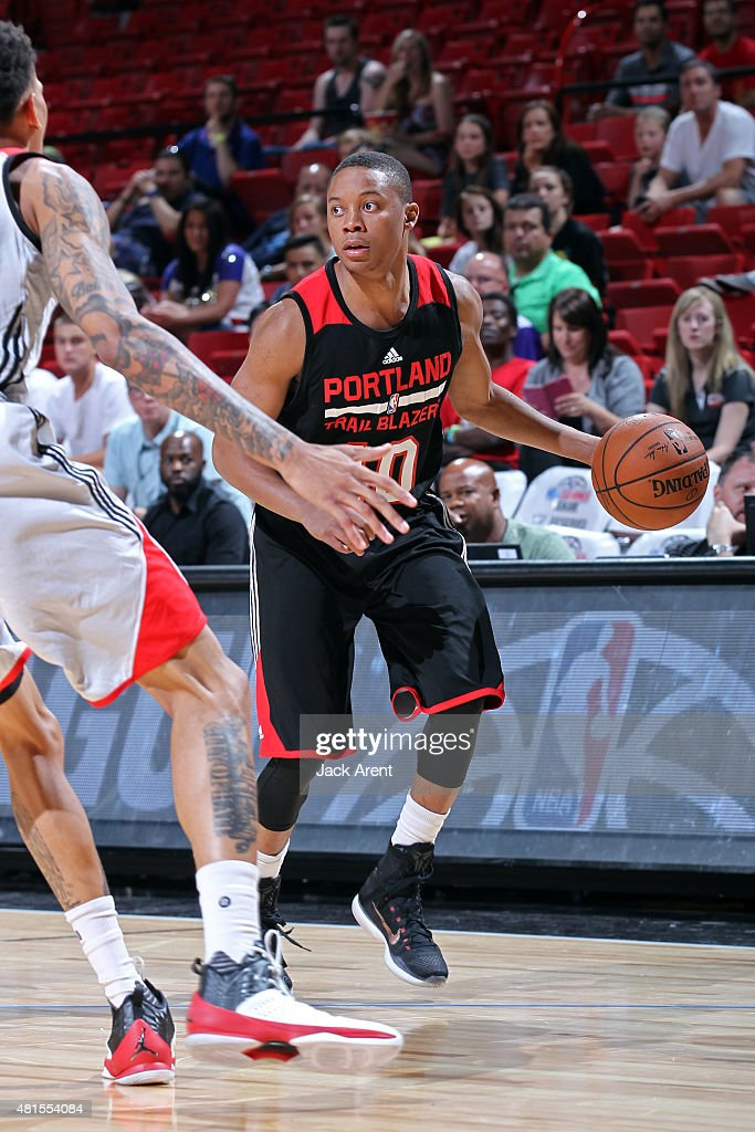 <a gi-track='captionPersonalityLinkClicked' href=/galleries/search?phrase=Tim+Frazier&family=editorial&specificpeople=6526834 ng-click='$event.stopPropagation()'>Tim Frazier</a> #10 of the Portland Trail Blazers handles the ball against the Toronto Raptors on July 17, 2015 at the Thomas & Mack Center in Las Vegas, Nevada.