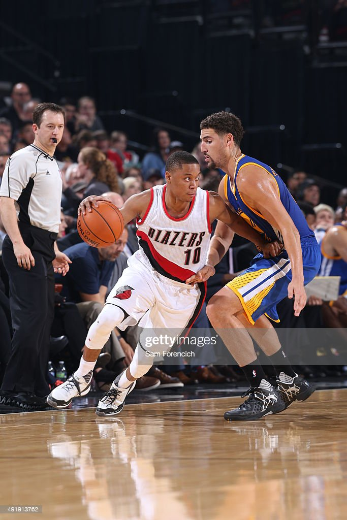 <a gi-track='captionPersonalityLinkClicked' href=/galleries/search?phrase=Tim+Frazier&family=editorial&specificpeople=6526834 ng-click='$event.stopPropagation()'>Tim Frazier</a> #10 of the Portland Trail Blazers handles the ball against the Golden State Warriors during a preseason game on October 8, 2015 at the Moda Center in Portland, Oregon.