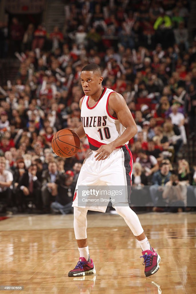 <a gi-track='captionPersonalityLinkClicked' href=/galleries/search?phrase=Tim+Frazier&family=editorial&specificpeople=6526834 ng-click='$event.stopPropagation()'>Tim Frazier</a> #10 of the Portland Trail Blazers handles the ball against the Phoenix Suns during the game on October 31, 2015 at Moda Center in Portland, Oregon.