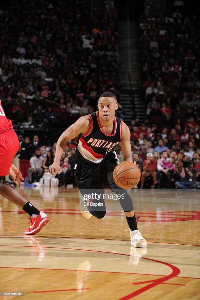 <a gi-track='captionPersonalityLinkClicked' href=/galleries/search?phrase=Tim+Frazier&family=editorial&specificpeople=6526834 ng-click='$event.stopPropagation()'>Tim Frazier</a> #10 of the Portland Trail Blazers handles the ball against the Houston Rockets on February 6, 2016 at the Toyota Center in Houston, Texas.