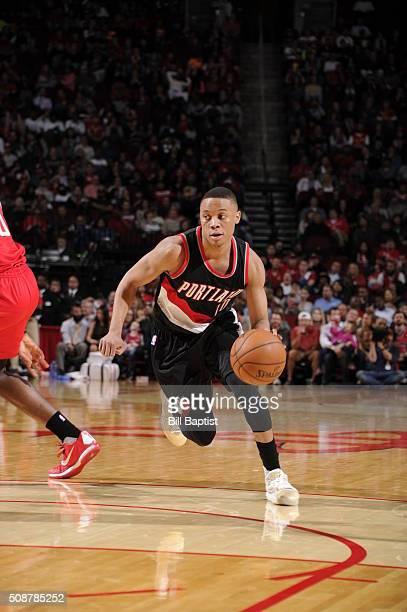 Tim Frazier of the Portland Trail Blazers handles the ball against the Houston Rockets on February 6 2016 at the Toyota Center in Houston Texas NOTE...