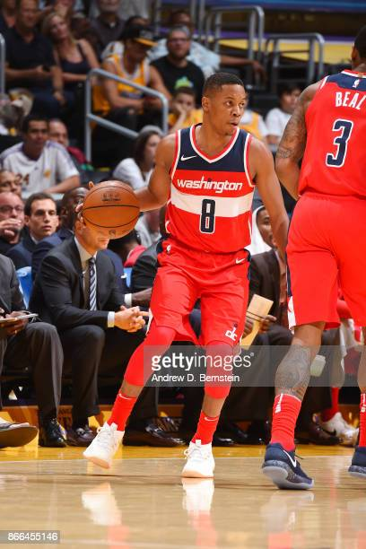 Tim Frazier of the Washington Wizards handles the ball against the Los Angeles Lakers on October 25 2017 at STAPLES Center in Los Angeles California...
