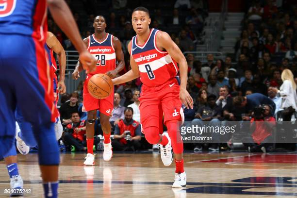 Tim Frazier of the Washington Wizards handles the ball during game against the Detroit Pistons on October 20 2017 at Capital One Arena in Washington...
