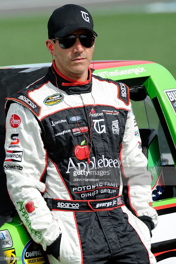 Tim George Jr., driver of the #5 Applebee's Ford, during qualifying for the NASCAR Camping World Truck Series SFP 250 at Kansas Speedway on April 20, 2013 in Kansas City, Kansas.
