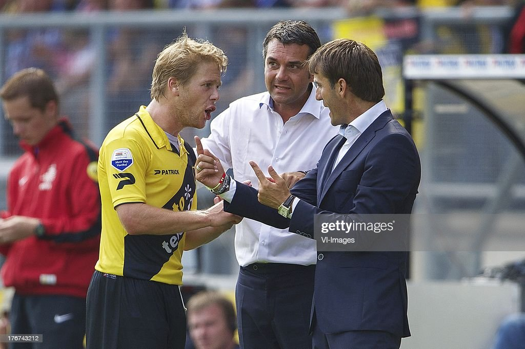 Tim Gilissen of NAC Breda, assistant trainer Marino Pusic of NAC Breda, coach Nebojsa Gudelj of NAC Breda during the Dutch Eredivisie match between NAC Breda and ADO Den Haag on August 18, 2013 at the Rat Verlegh stadium in Breda, The Netherlands.
