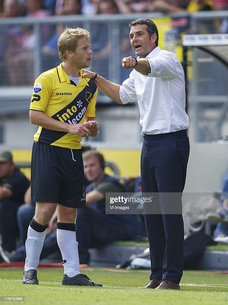 Tim Gilissen of NAC Breda, assistant trainer Marino Pusic of NAC Breda, during the Dutch Eredivisie match between NAC Breda and ADO Den Haag on August 18, 2013 at the Rat Verlegh stadium in Breda, The Netherlands.