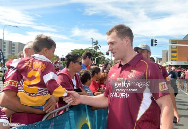 Tim Glasby greets fans during a Queensland Maroons State of Origin fan day on June 14 2017 in Mackay Australia