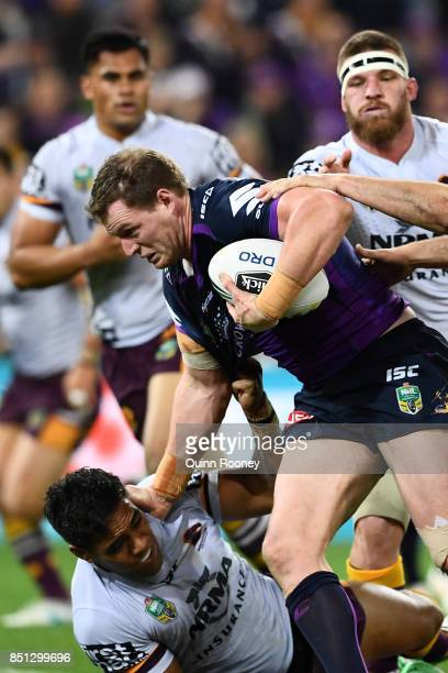 Tim Glasby of the Storm during the NRL Preliminary Final match between the Melbourne Storm and the Brisbane Broncos at AAMI Park on September 22 2017...