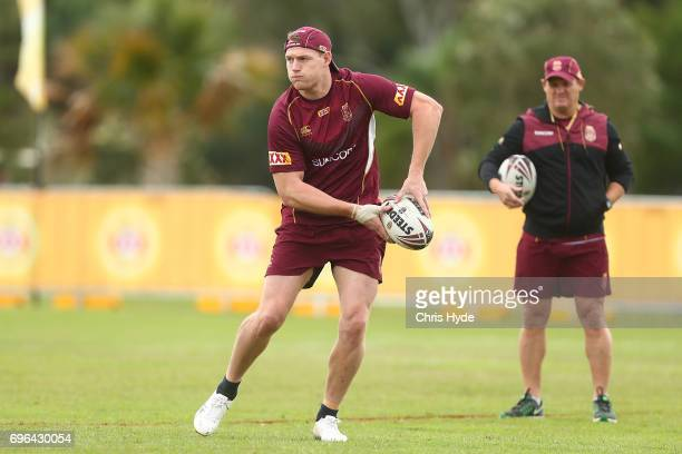 Tim Glasby passes during a Queensland Maroons State of Origin training session at Intercontinental Sanctuary Cove Resort on June 16 2017 in Brisbane...