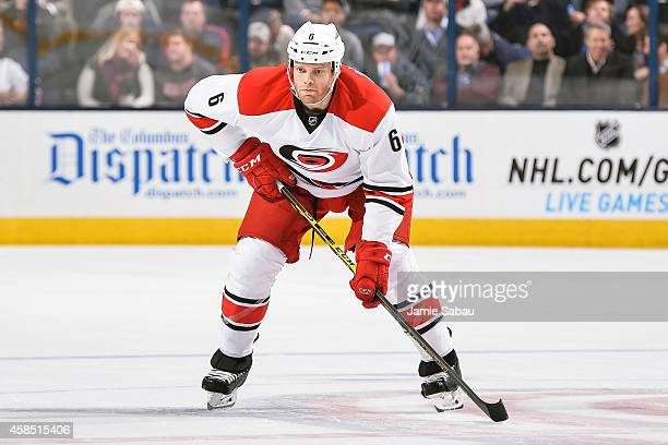 Tim Gleason of the Carolina Hurricanes skates against the Columbus Blue Jackets on November 4 2014 at Nationwide Arena in Columbus Ohio
