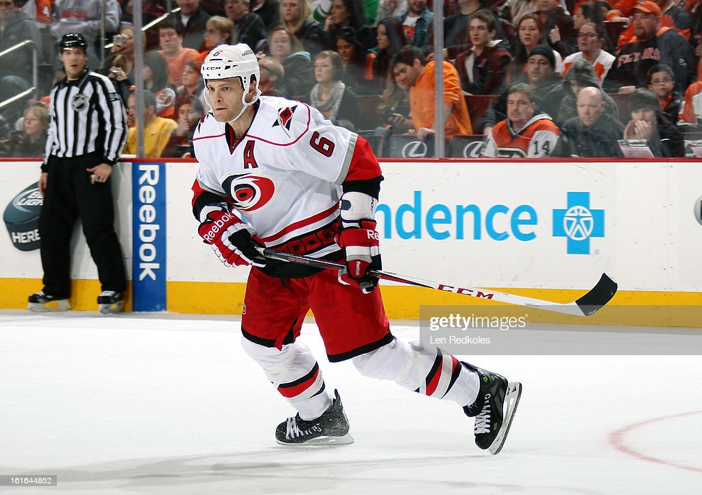 Tim Gleason #6 of the Carolina Hurricanes skates against the Philadelphia Flyers on February 9, 2013 at the Wells Fargo Center in Philadelphia, Pennsylvania.