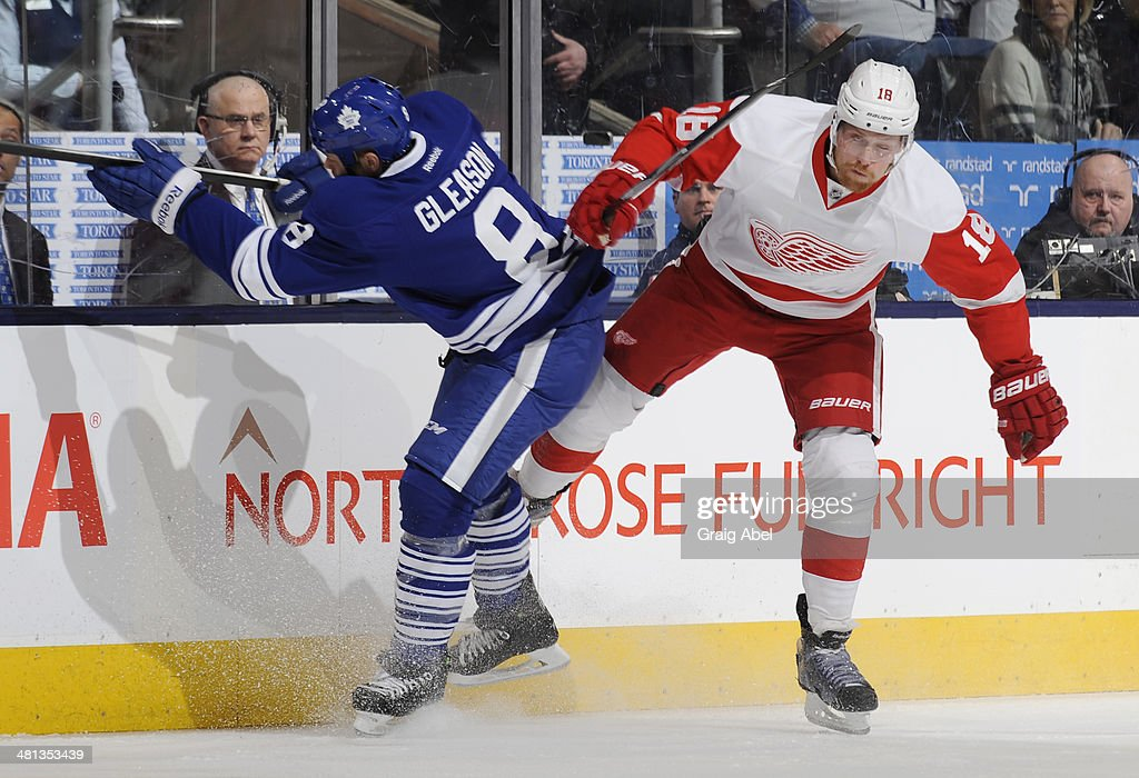 Tim Gleason #8 of the Toronto Maple Leafs checks Joakim Andersson #18 of the Detroit Red Wings during NHL game action March 29, 2014 at the Air Canada Centre in Toronto, Ontario, Canada.