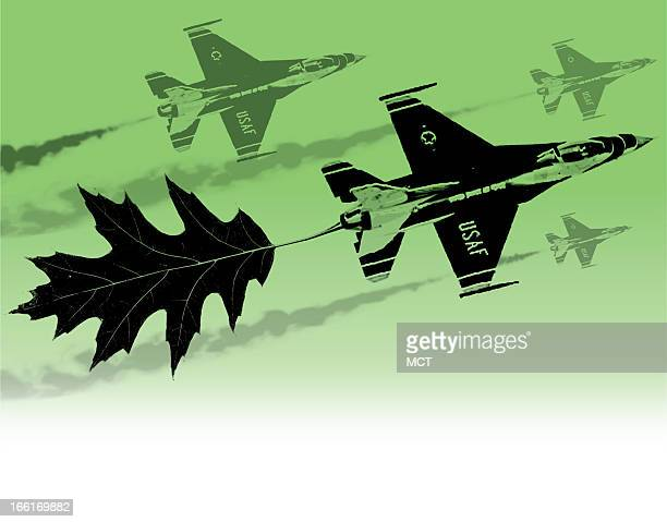 Tim Goheen color illustration of a US Air Force Thunderbird jet with a leaf as a contrail on a green background