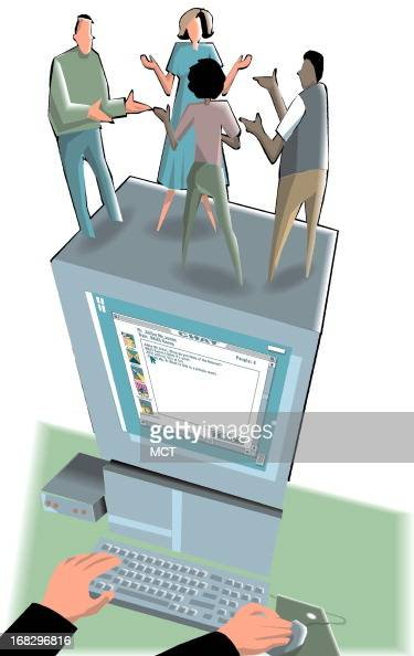 Tim Goheen illustration of people chatting on a computer can be used with stories about computer chat rooms