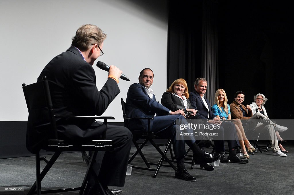 Tim Goodman of The Hollywood Reporter moderates the Q&A session as executive producer Gareth Neame, actors Lesley Nicol, Hugh Bonneville, Joanne Froggatt, Rob James-Collier and executive producer, Masterpiece, Rebecca Eaton look on during The Hollywood Reporter screening of PBS Masterpiece's 'Downton Abbey' Season 3 on December 7, 2012 in West Hollywood, California.