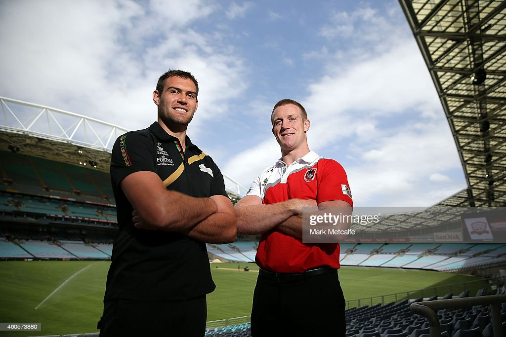 Tim Grant of South Sydney Rabbitohs and Ben Creagh of St George Illawarra Dragons pose during the 2015 Charity Shield Launch at ANZ Stadium on December 17, 2014 in Sydney, Australia.