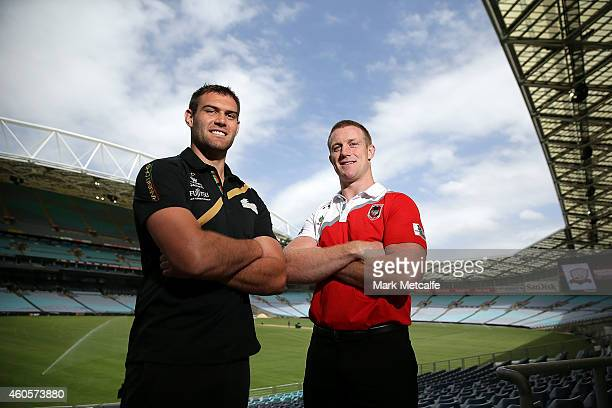 Tim Grant of South Sydney Rabbitohs and Ben Creagh of St George Illawarra Dragons pose during the 2015 Charity Shield Launch at ANZ Stadium on...