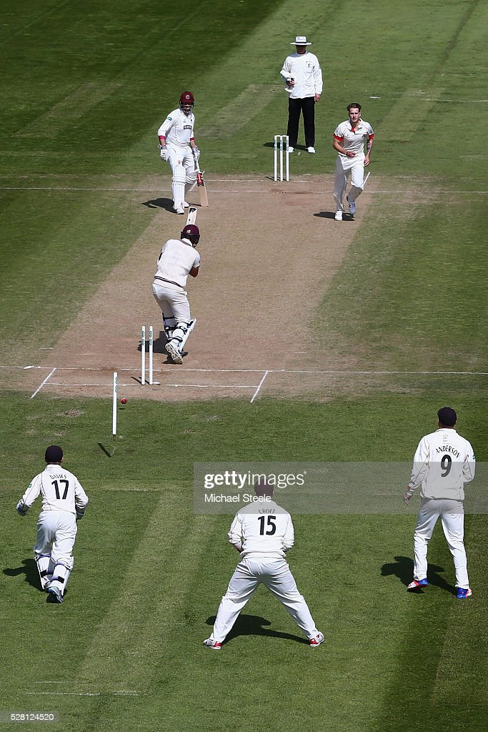 Tim Groenewald of Somerset is bowled by Kyle Jarvis of Lancashire during day four of the Specsavers County Championship Division One match between Somerset and Lancashire at The Cooper Associates County Ground on May 4, 2016 in Somerset, United Kingdom.