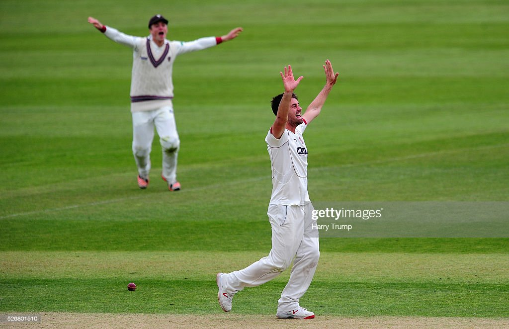 Tim Groenewald of Somerset successfully appeals during Day One of the Specsavers County Championship match between Somerset and Lancashire at the County Ground on May 01, 2016 in Somerset, United Kingdom.
