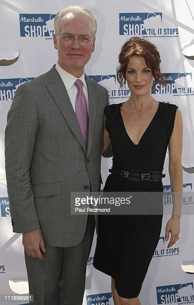 Tim Gunn and Laura Leighton attend the National Domestic Violence Hotline's 'Shop 'Til It Stops' at the 3rd Street Promenade on October 1 2009 in...