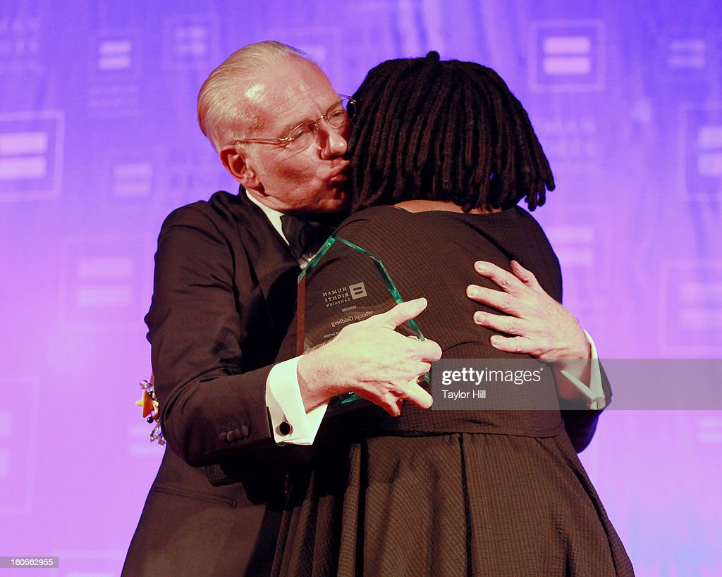 Tim Gunn embraces Whoopi Goldberg at The 2013 Greater New York Human Rights Campaign Gala at The Waldorf=Astoria on February 2, 2013 in New York City.