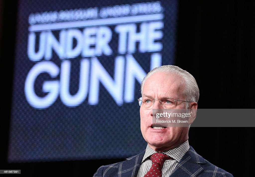 Tim Gunn, host and Executive Producer, speaks onstage during the 'Lifetime - Under the Gunn' panel discussion at the Lifetime/A&E Network' portion of the 2014 Winter Television Critics Association tour at the Langham Hotel on January 9, 2014 in Pasadena, California.