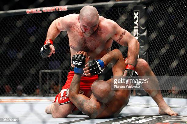 Tim Hague punches Joey Beltran in their heavyweight bout at UFC 113 at Bell Centre on May 8 2010 in Montreal Quebec Canada
