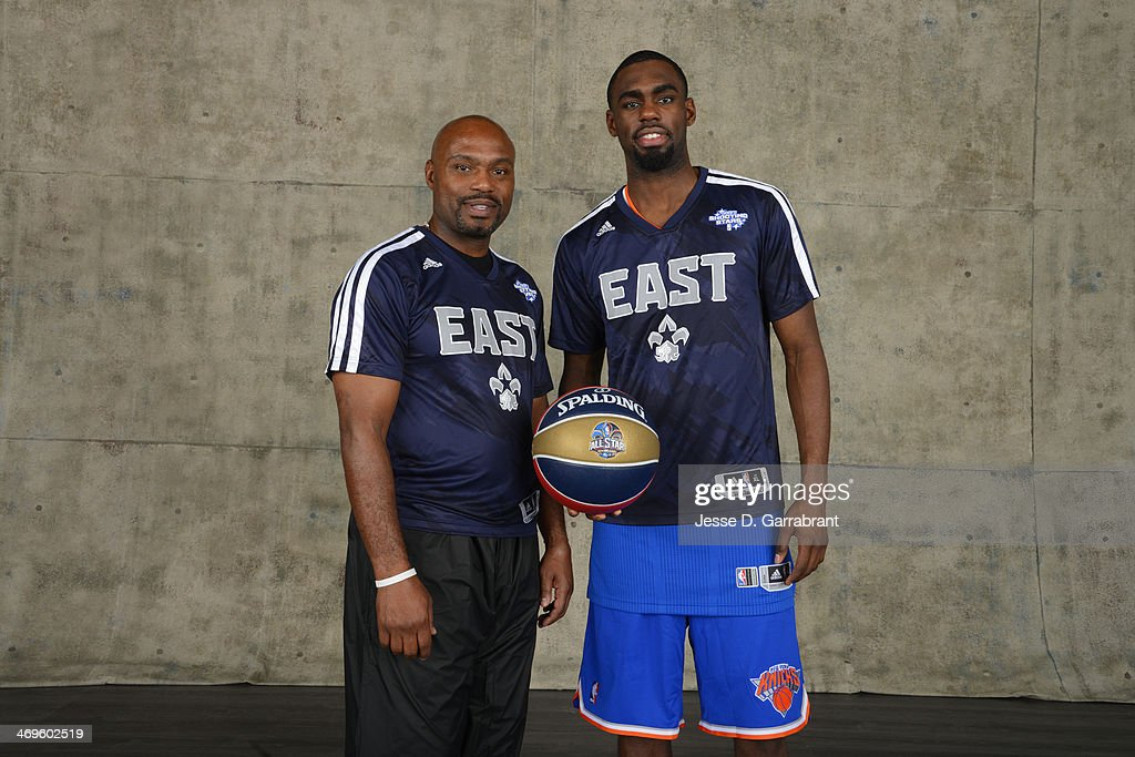 Tim Hardaway and Tim Hardaway Jr. poses for a portrait prior to the Sears Shooting Stars Competition as part of the 2014 State Farm Saturday Night on February 15, 2014 at the Smoothie King Center in New Orleans, Louisiana.