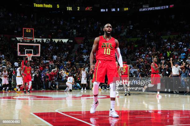 Tim Hardaway Jr #10 of the Atlanta Hawks celebrates during a game against the Cleveland Cavaliers on April 9 2017 at Philips Arena in Atlanta Georgia...