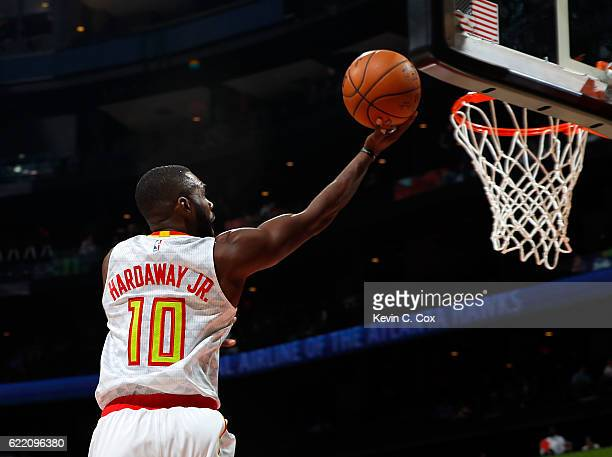 Tim Hardaway Jr #10 of the Atlanta Hawks lays in a basket against the Chicago Bulls at Philips Arena on November 9 2016 in Atlanta Georgia NOTE TO...