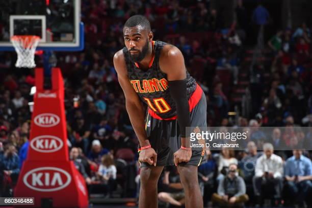 Tim Hardaway Jr #10 of the Atlanta Hawks looks on against the Philadelphia 76ers at Wells Fargo Center on March 29 2017 in Philadelphia Pennsylvania...