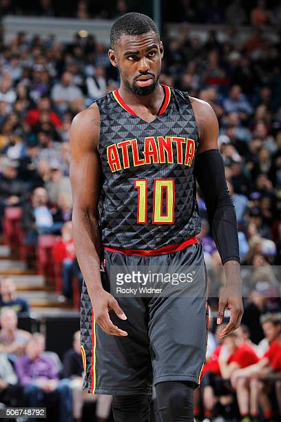 Tim Hardaway Jr #10 of the Atlanta Hawks looks on during the game against the Sacramento Kings on January 21 2016 at Sleep Train Arena in Sacramento...