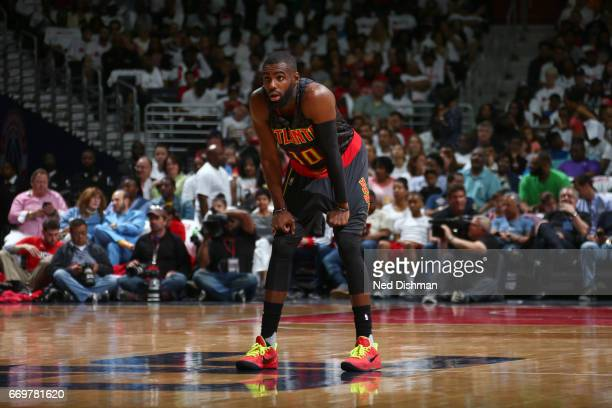 Tim Hardaway Jr #10 of the Atlanta Hawks stands on the court during the Eastern Conference Quaterfinals game against the Washington Wizards during...
