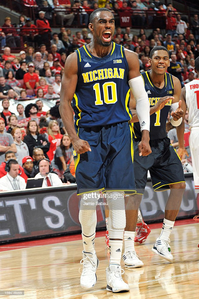 Tim Hardaway Jr. #10 of the Michigan Wolverines celebrates after drawing a foul in the second half against the Ohio State Buckeyes on January 13, 2013 at Value City Arena in Columbus, Ohio. Ohio State defeated Michigan 56-53.