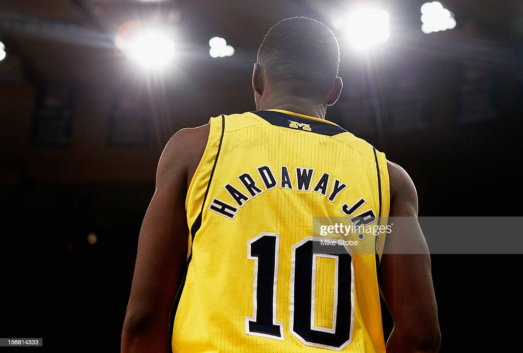 Tim Hardaway Jr. #10 of the Michigan Wolverines looks on duringthe game against the Pittsburgh Panthers during the NIT Season Tip-Off at Madison Square Garden on November 21, 2012 in New York City. Michigan defeated Pittsburgh 67-62.