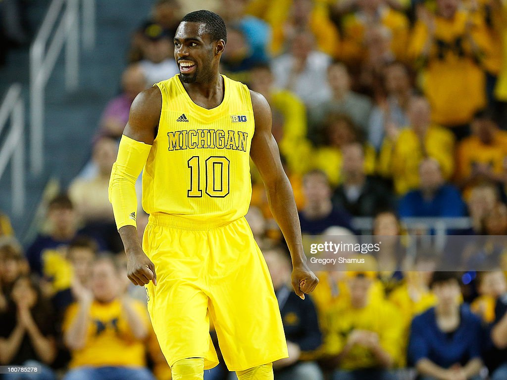 Tim Hardaway Jr. #10 of the Michigan Wolverines reacts during the first half while playing the Ohio State Buckeyes at Crisler Center on February 5, 2013 in Ann Arbor, Michigan.