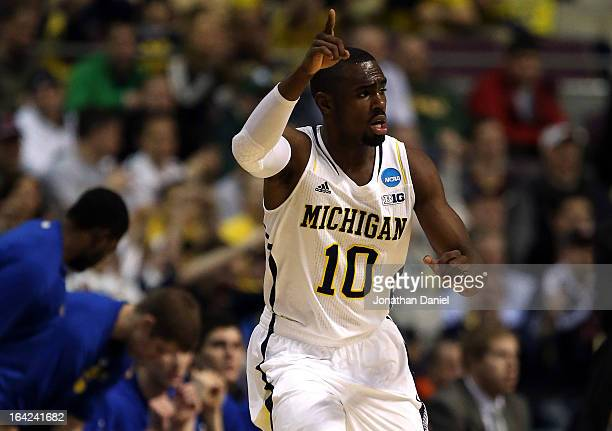 Tim Hardaway Jr #10 of the Michigan Wolverines reacts in the first half against the South Dakota State Jackrabbits during the second round of the...
