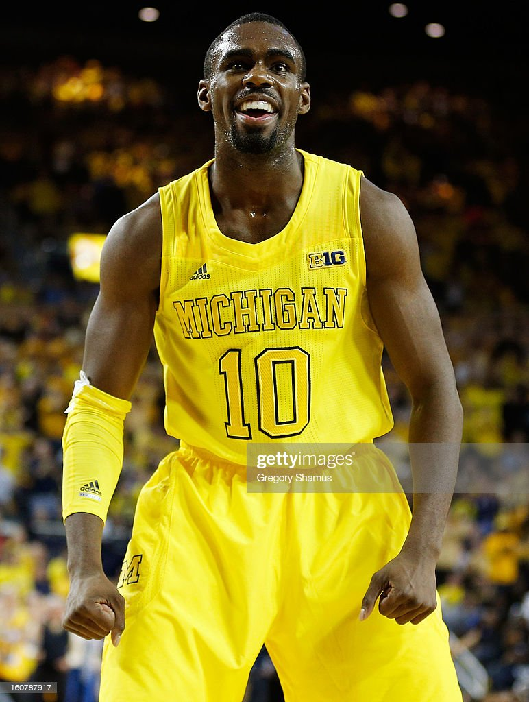 Tim Hardaway Jr. #10 of the Michigan Wolverines reacts in the second half while playing the Ohio State Buckeyes at Crisler Center on February 5, 2013 in Ann Arbor, Michigan. Michigan won the game 76-74 in overtime.